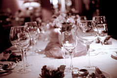 Glass and tableware. On the table Stock Images