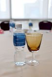 Glass on the tableware. Stock Image