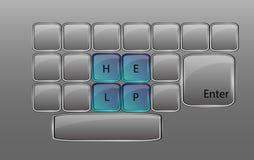 Glass tangentbord för vektor med teckenHJÄLP Royaltyfria Bilder