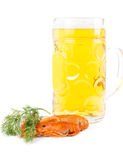 Beer with cooked prawns or crawfish Stock Photos