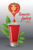 A glass of of tasty fresh tomato juice with  red ripe tomatoes, green tomato leafs, cheese, hot chili pepper and parsley. Food and drinks vector illustration Stock Photos