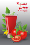 Glass of of tasty fresh tomato juice with  red ripe tomatoes, green tomato leafs Stock Photo