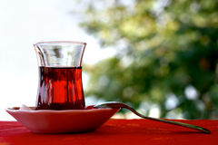 Glass of tea. Well steeped a glass of tea at the cafe Stock Photo