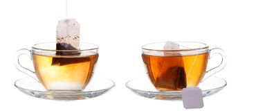 Glass of Tea with Bag End. Isolated on white background, with cl. Ipping path stock photo
