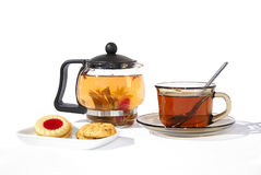 Glass of tea and biscuits Stock Photo