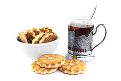 Glass of tea and cookies Royalty Free Stock Photography
