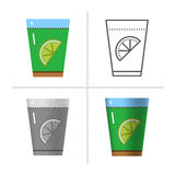 Glass with tea and lemon vector illustration