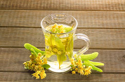 Glass of tea with linden flowers Stock Photo