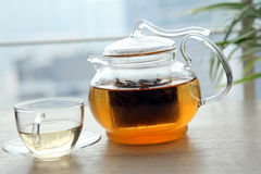 Glass tea pot Stock Photo