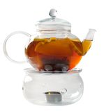 Glass tea pot with Royalty Free Stock Images