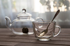 A glass tea pot with Flower Chinese tea ready for brewed and a cap on wooden background in front of the window Stock Photo