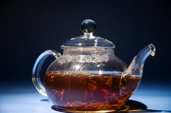 Glass tea pot from lower point of the removal Royalty Free Stock Photo