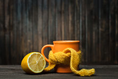 Glass of tea in a scarf Stock Photo