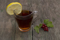 Glass of tea, segment of a lemon and branch of currant Stock Images