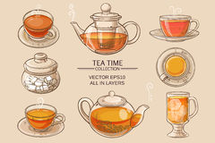 Glass tea set color. Cup of tea, teapot and sugar bowl vector set on brown  background Stock Image