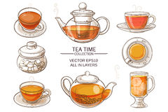 Glass tea set color. Cup of tea, teapot and sugar bowl vector set on white background Royalty Free Stock Photos