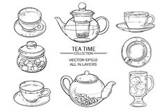 Glass tea set sketch. Cup of tea, teapot and sugar bowl vector set on white background Royalty Free Stock Photography