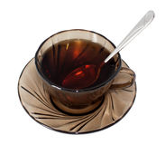 Glass of Tea with spoon. Isolated on White (with Clipping Path Stock Photo