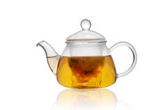 Glass teapot. Filled with tea Stock Image