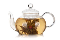 Glass teapot of aroma tea. Isolated on white background Royalty Free Stock Photography