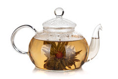 Glass teapot of aroma tea. Isolated on white background Stock Image