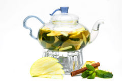 Glass teapot with berry tea Royalty Free Stock Photos