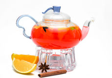 Glass teapot with berry tea Royalty Free Stock Photography