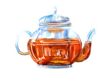 Glass teapot of a black tea. Drink painting. Watercolor hand drawn illustration Royalty Free Stock Photo