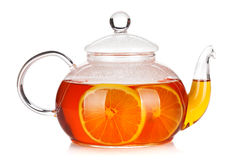 Glass teapot of black tea with lemon. Isolated on white background Royalty Free Stock Photography