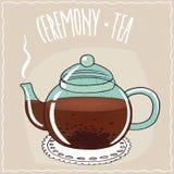 Glass teapot with black tea Stock Photo