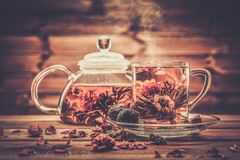 Glass teapot with blooming tea flower royalty free stock photography