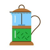 Glass teapot for coffee and tea. French press flat icon. royalty free illustration