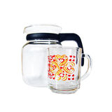 Glass teapot and cup Stock Image