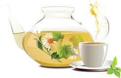 Glass teapot and cup with tea. Royalty Free Stock Photography