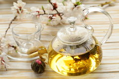 Glass teapot with exotic green tea Royalty Free Stock Photo