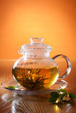 Glass teapot with greean tea. Transparent glass teapot with Chinese green tea. Jasmine flower inside stock images