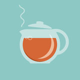 Glass teapot with hot tea icon Royalty Free Stock Image