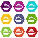 Glass teapot icon set color hexahedron Stock Photos