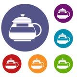 Glass teapot icons set Stock Image