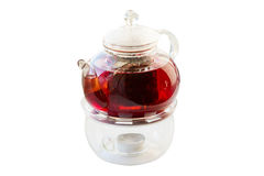 Glass teapot with tea on white background Stock Image