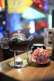 Glass teapot and teacups Royalty Free Stock Photography
