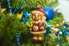 A glass teddy Christmas tree toy Royalty Free Stock Photo