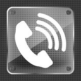Glass Telephone receiver  icon Royalty Free Stock Photos
