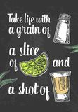 Glass tequila. salt and lime. Vector engraved illustration. Vintage black background. For poster, web Stock Image