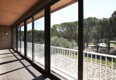 Glass terrass med en pinjeskogsikt arkivbild