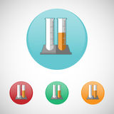 Glass test tube vector icon set. Stock Image