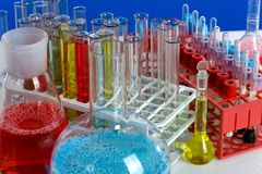 Glass test tubes Stock Photo