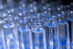 Glass test tubes. Filled with liquid on rack for an experiment in science research lab Royalty Free Stock Images