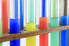 Glass test tubes on a rack Royalty Free Stock Photo