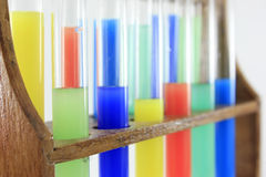 Glass test tubes on a rack Stock Images